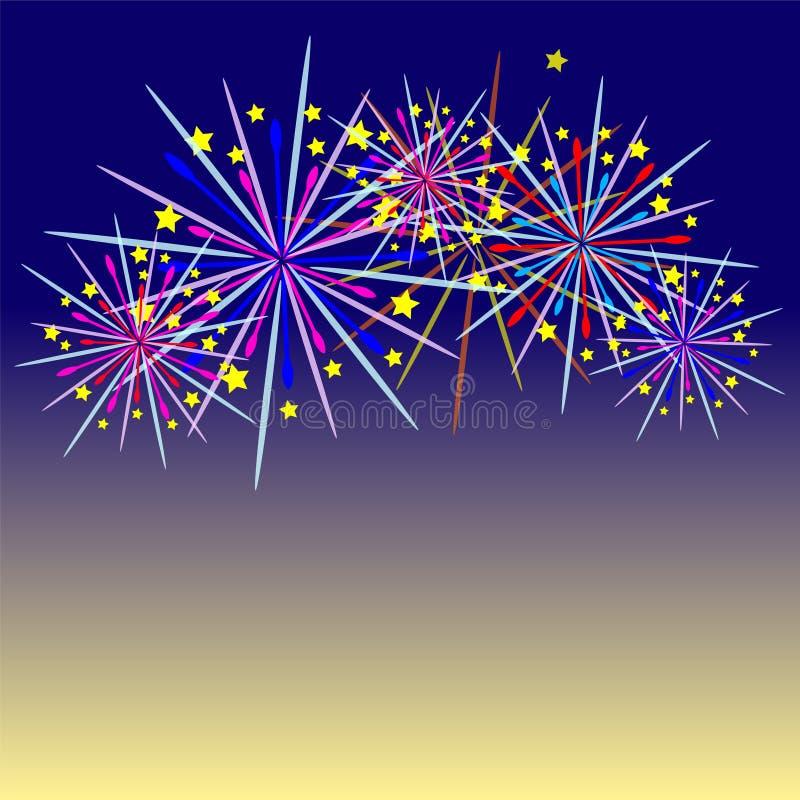 Celebración de los fuegos artificiales y el fondo crepuscular del cielo libre illustration