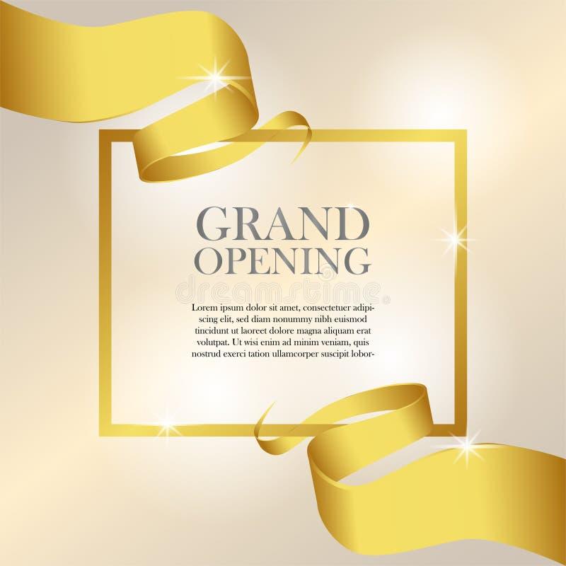 Celebración de lujo del partido de la cinta de oro femenina de la gran inauguración stock de ilustración