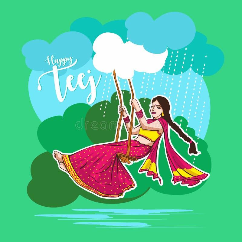 Celebración de Teej en el ejemplo indio hermoso del swingingvector de la mujer de la India libre illustration