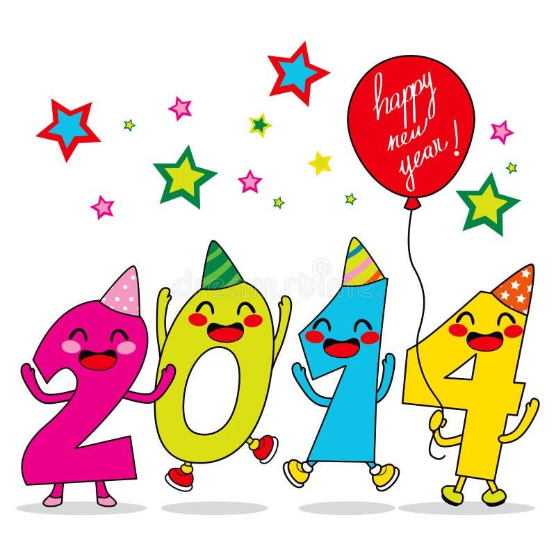 Celebración 2014 del año ilustración del vector