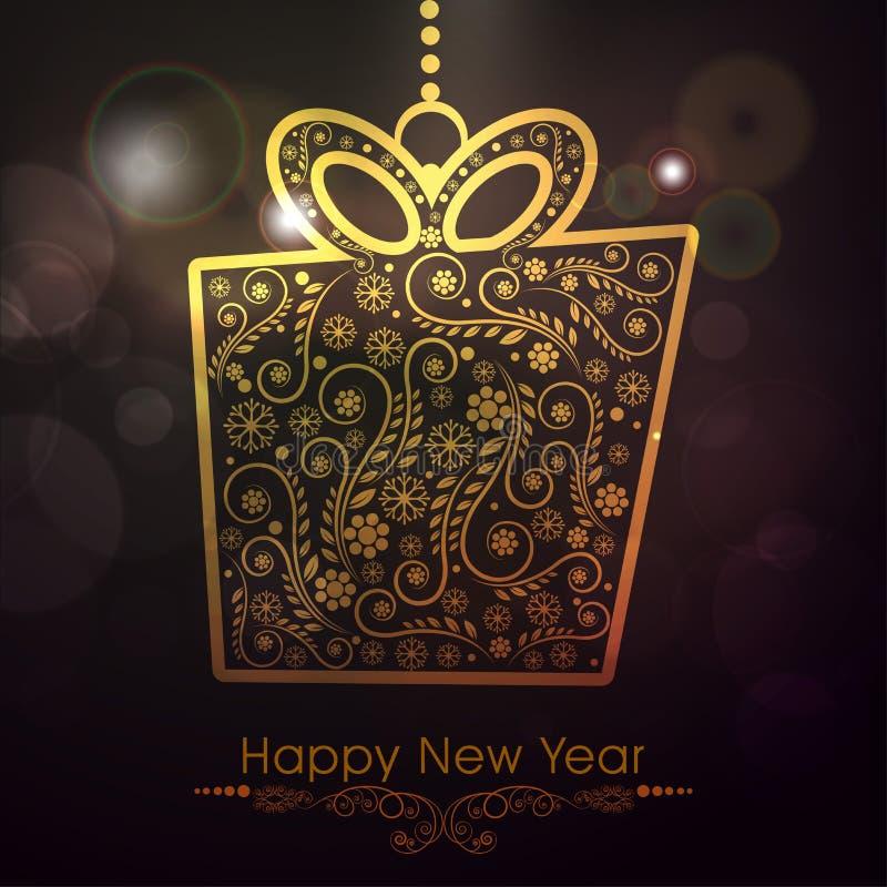 Celebración del Año Nuevo con la caja de regalo ilustración del vector