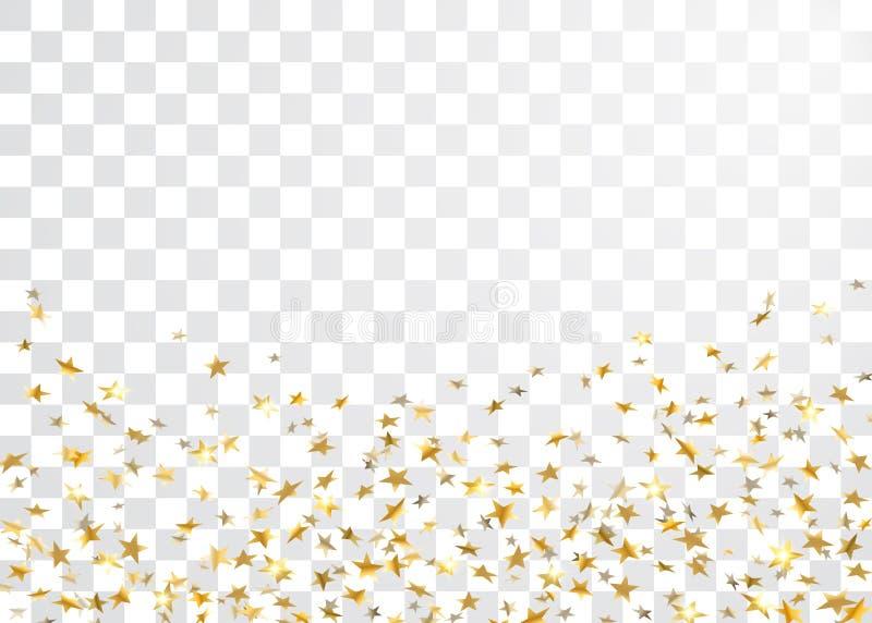Celebración del confeti de la estrella del oro en el fondo transparente blanco Modelo abstracto de oro de las estrellas el caer ilustración del vector