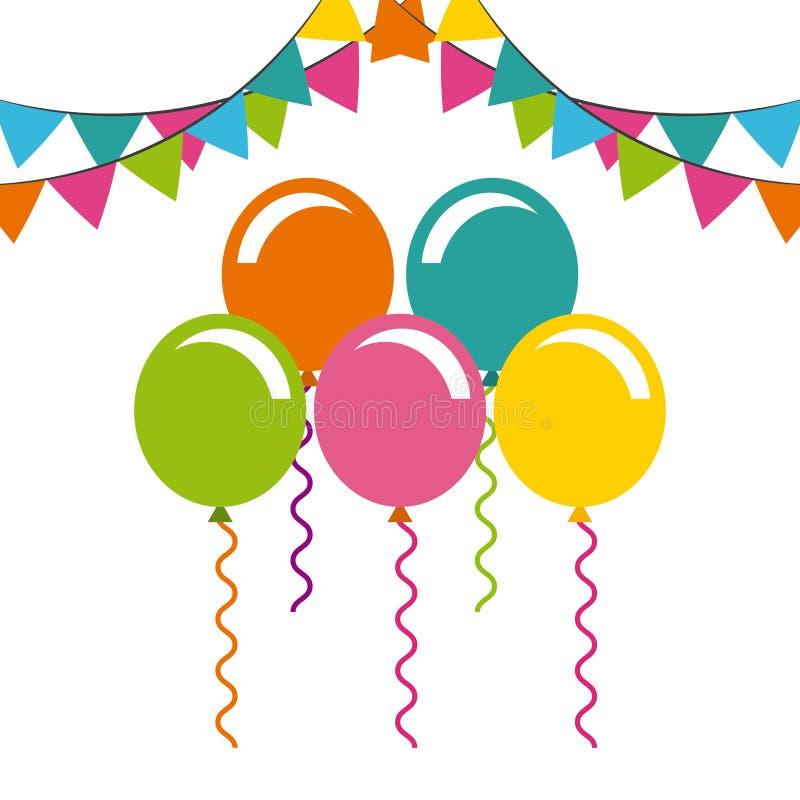 Celebración del cumpleaños con el partido del aire de los globos libre illustration