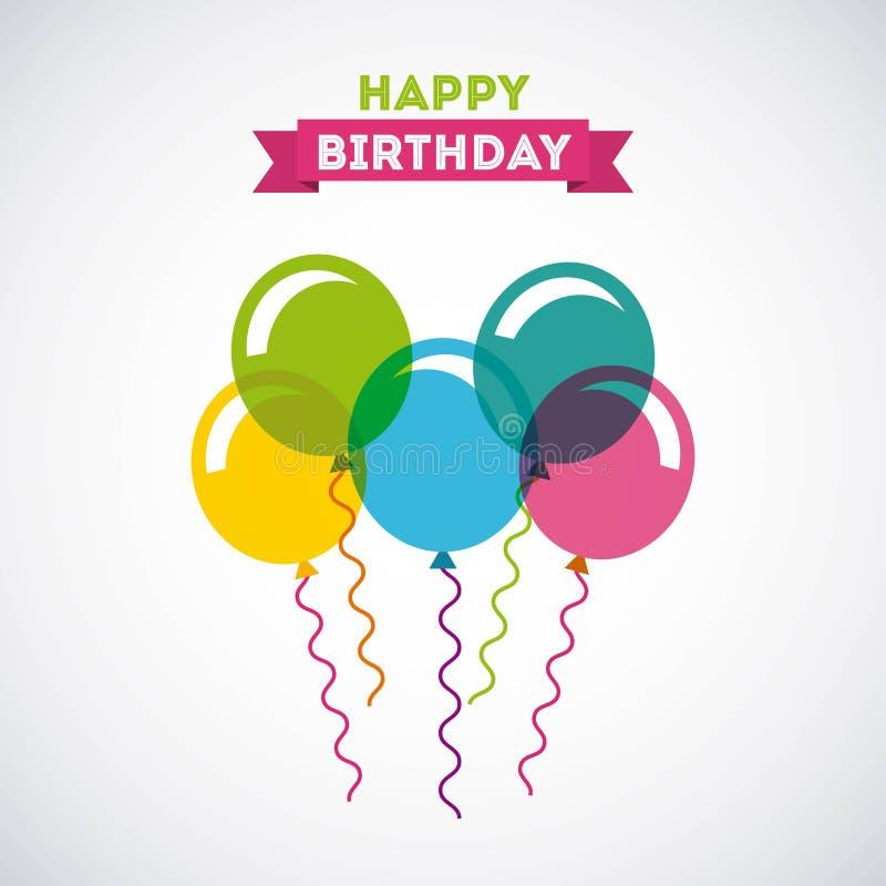 Celebración del cumpleaños con el partido del aire de los globos ilustración del vector