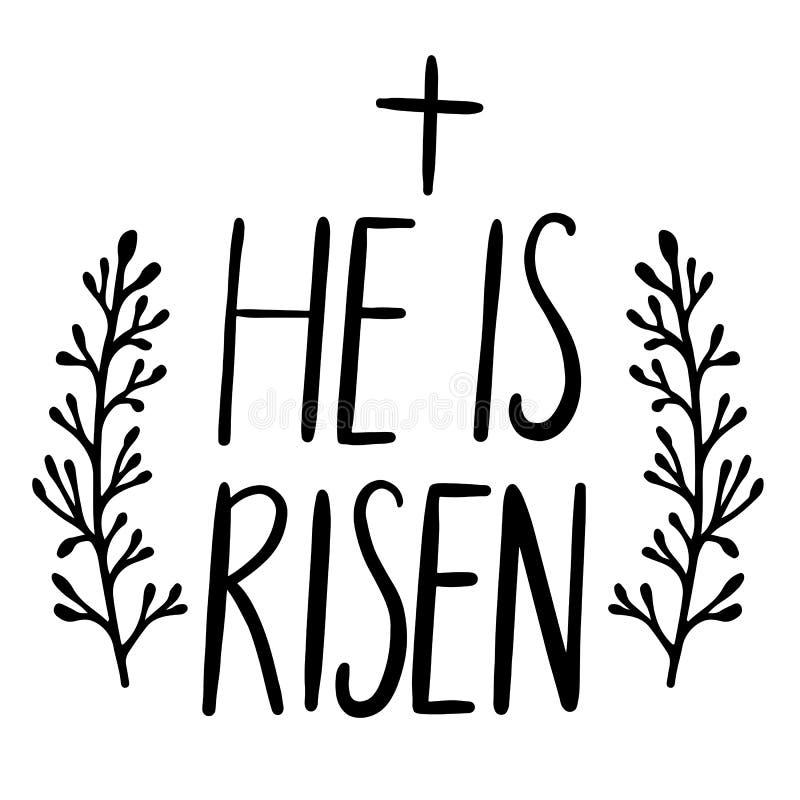 Celebración del día de fiesta de Pascua Él es diseño de letras subido de la escritura ilustración del vector