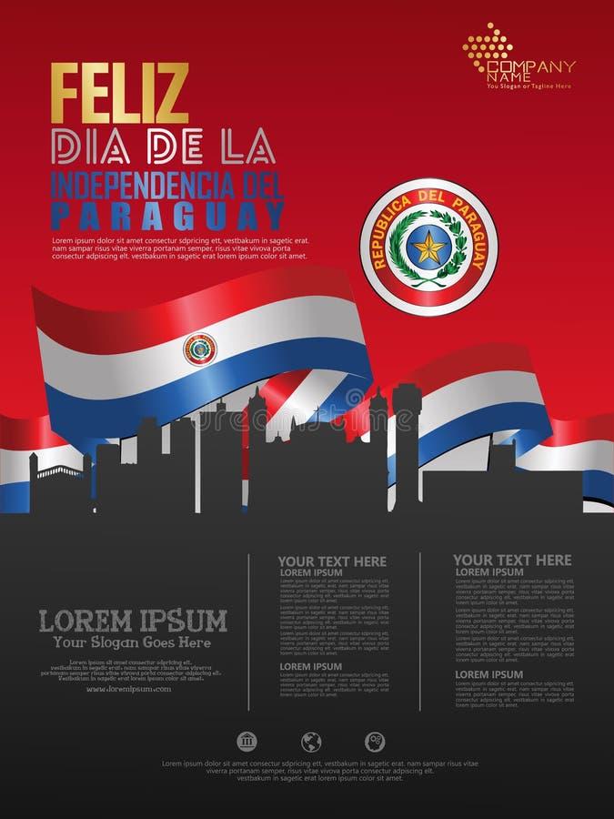 Celebración del Día de la Independencia de Paraguay o stock de ilustración