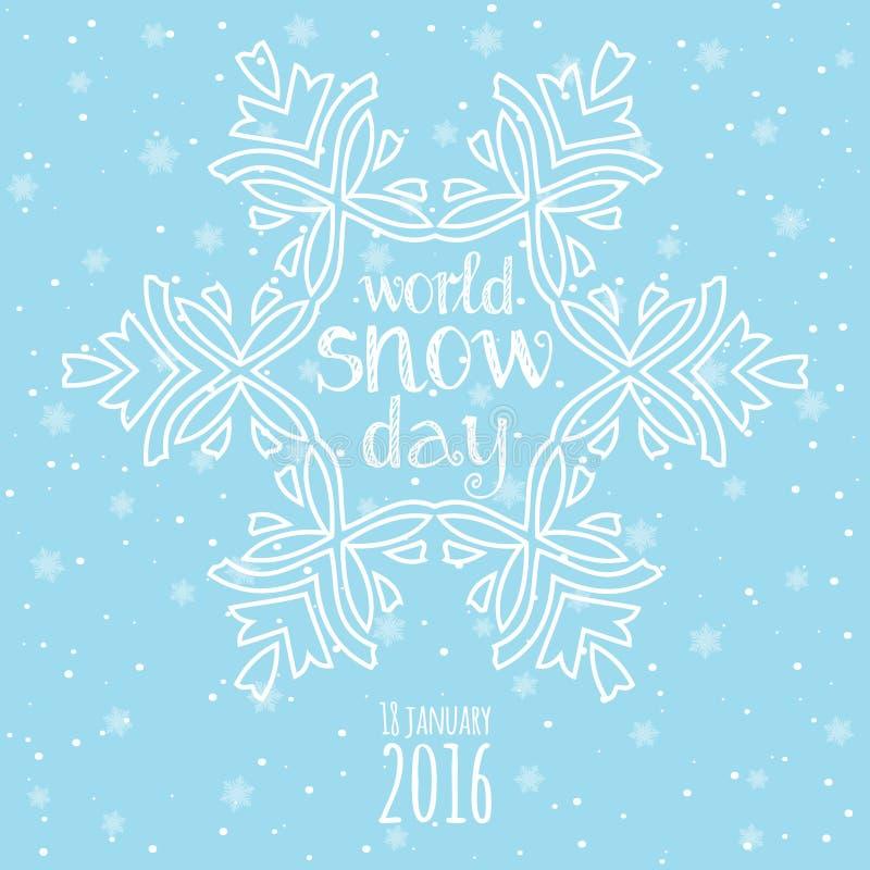 Celebración del día de la nieve del mundo Fondo de las nevadas del invierno stock de ilustración