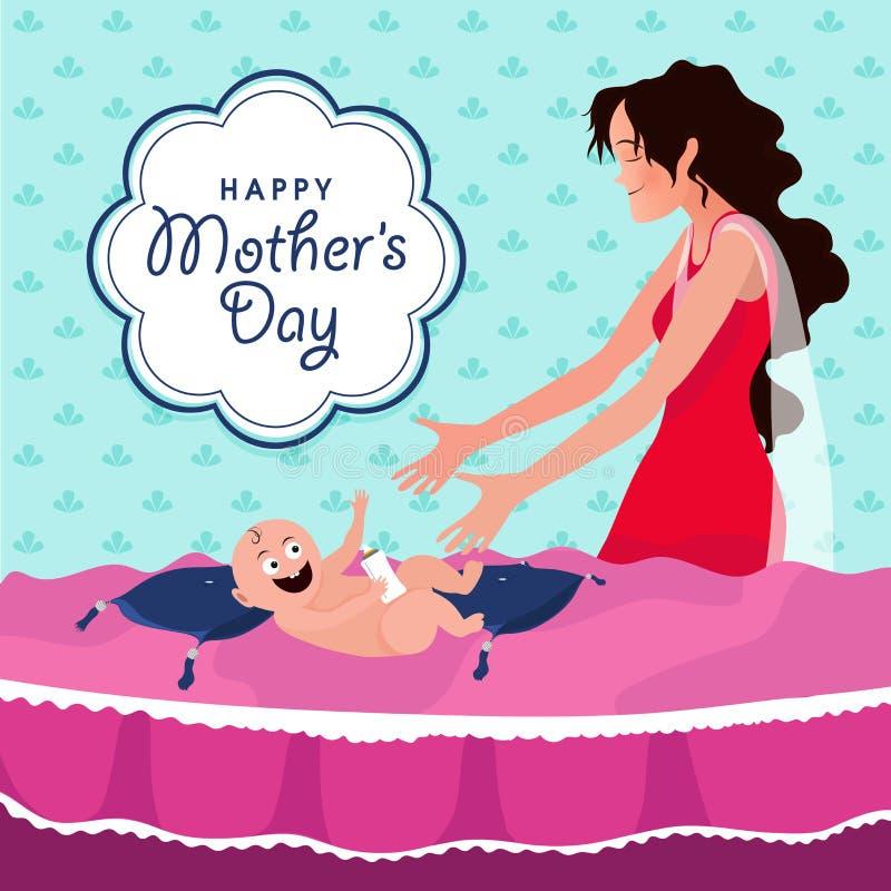 Celebración del día de madre con el niño y la madre stock de ilustración