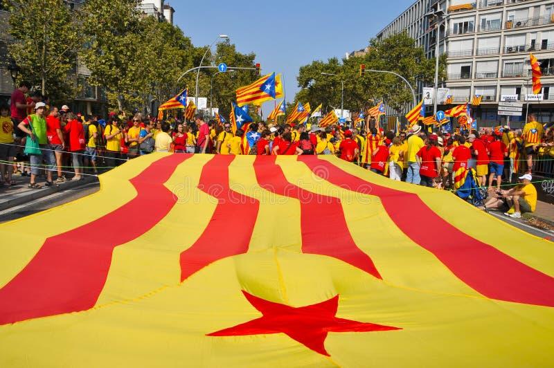 Celebración del día nacional de Cataluña en Barcelona, España imágenes de archivo libres de regalías