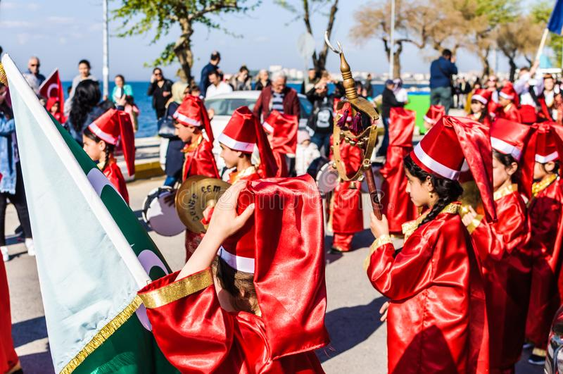 Celebración del día del ` nacional s de la soberanía y de los niños - Turquía imagen de archivo