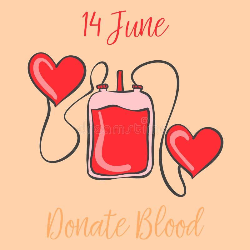 Celebración del drenaje de la mano del día del donante de sangre ilustración del vector
