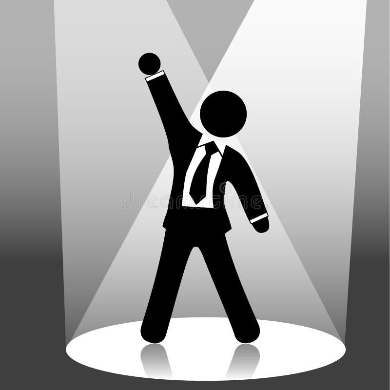 Celebración del hombre de negocios en proyector de la etapa stock de ilustración