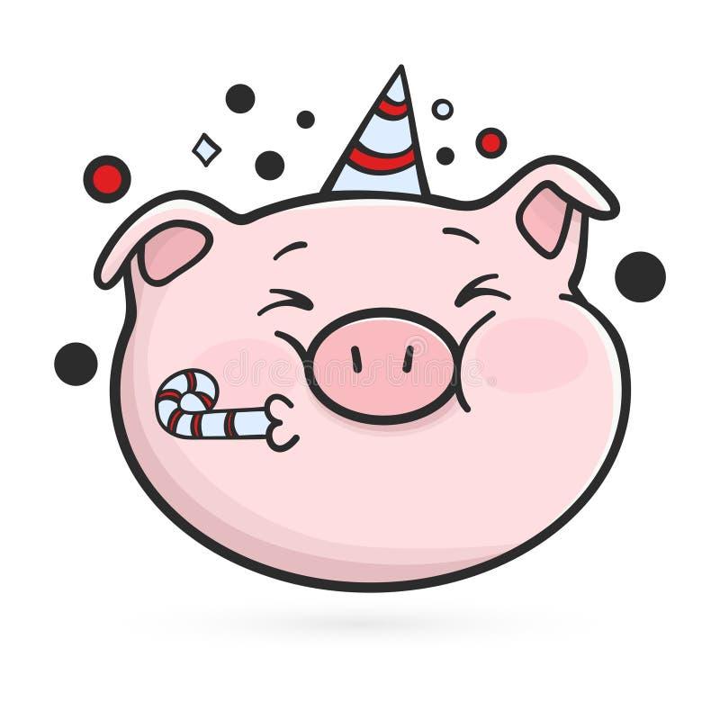 Celebración del icono del emoticon Cerdo de Emoji stock de ilustración