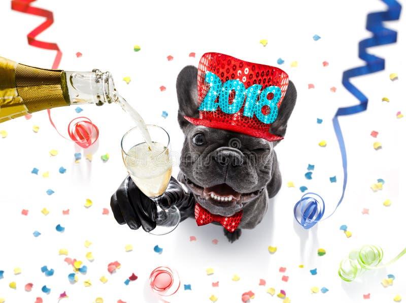 Celebración del perro de la Feliz Año Nuevo fotos de archivo