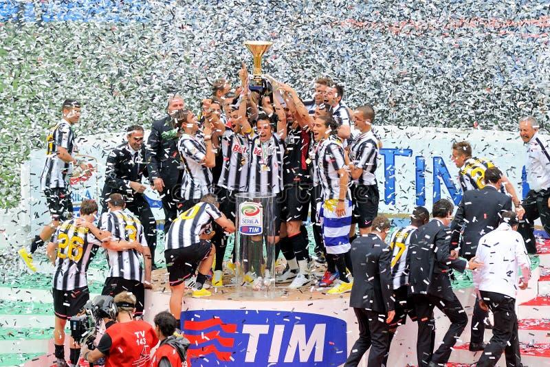 Celebración del triunfo de Juventus imagen de archivo