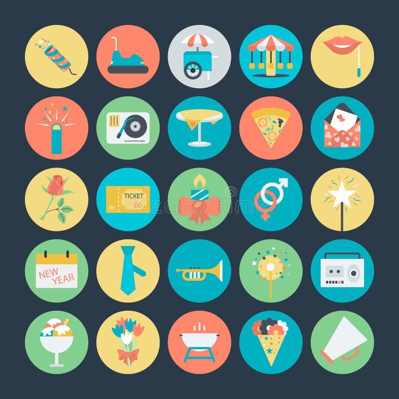 Celebración e iconos coloreados partido 3 del vector stock de ilustración