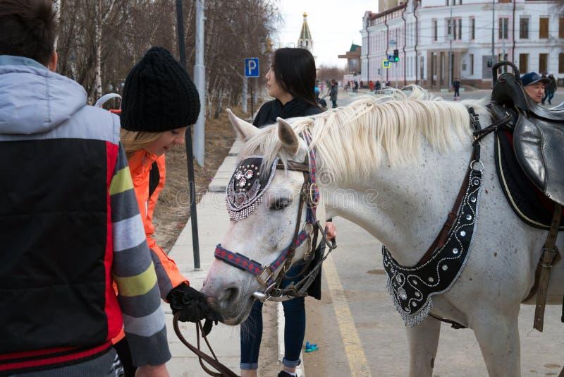 Celebración en la ciudad en ocasión del Día del Trabajo Montar a caballo en el Día del Trabajo internacional del día de fiesta fotos de archivo libres de regalías