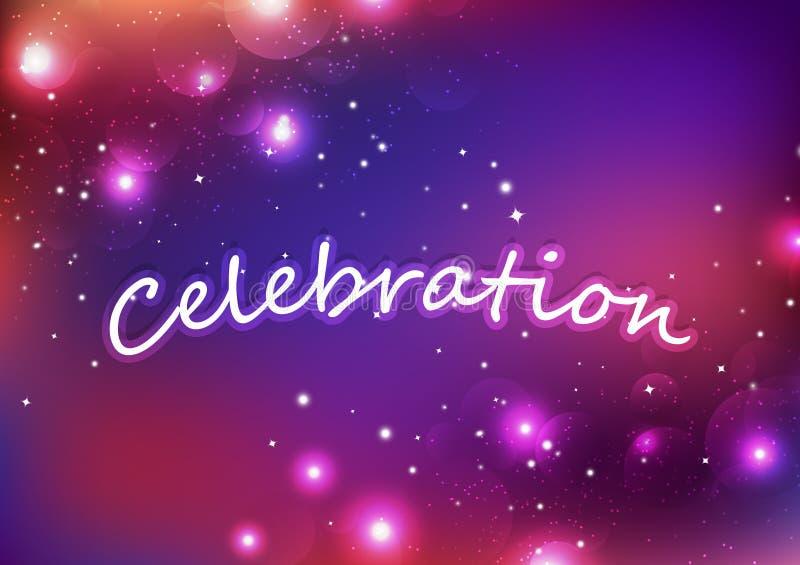 Celebración, estrellas de Bokeh, fuegos artificiales que brillan intensamente de la fantasía, vector festivo de estallido ligero  libre illustration