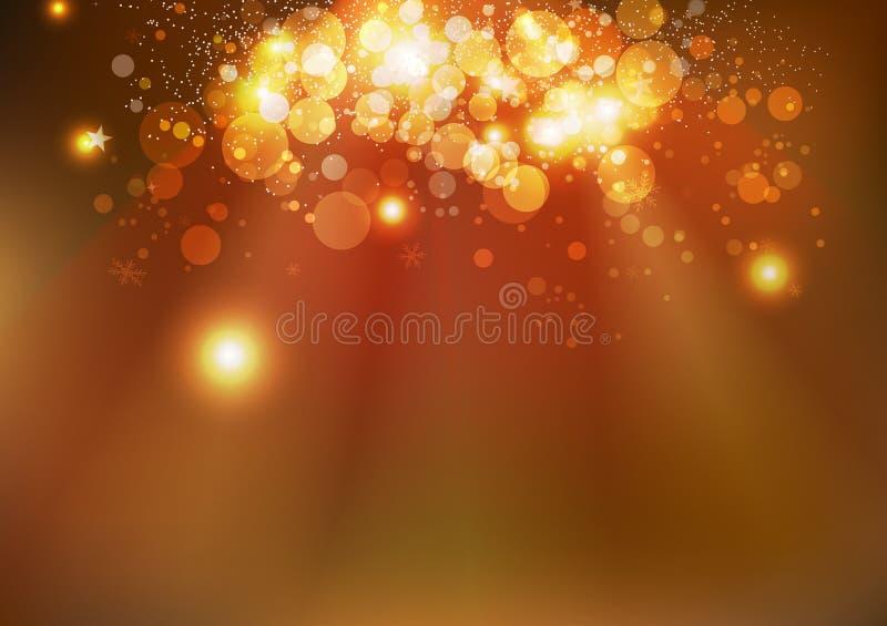 Celebración, estrellas mágicas del invierno del oro, SP que brilla intensamente de Bokeh de la Navidad ilustración del vector