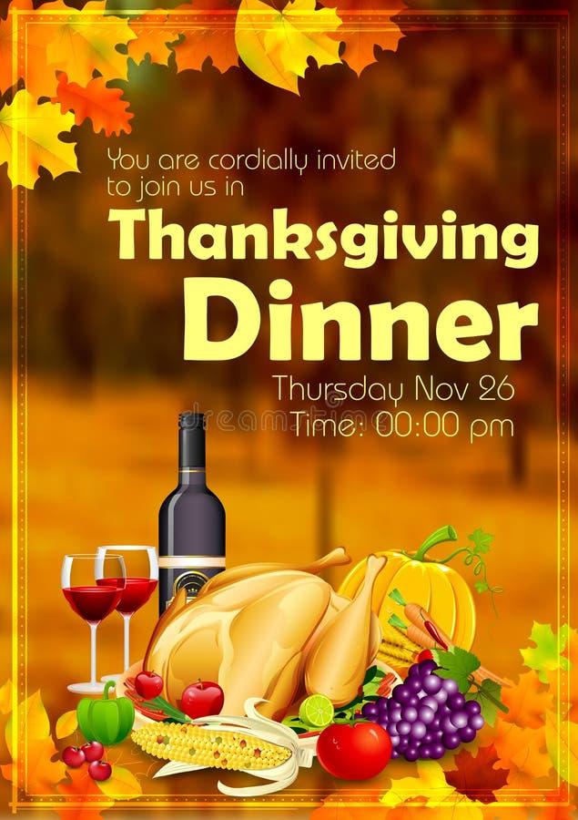 Celebración feliz de la cena de la acción de gracias ilustración del vector