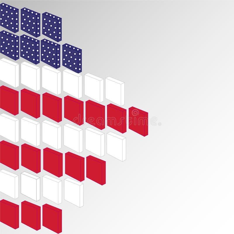Celebración feliz de presidentes Day con los bloques brillantes 3D en estado unido del color de la bandera americana con las estr libre illustration