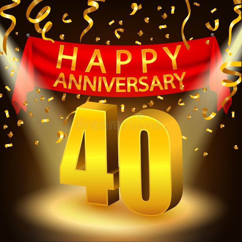 40.a celebración feliz del aniversario con confeti y el proyector de oro libre illustration