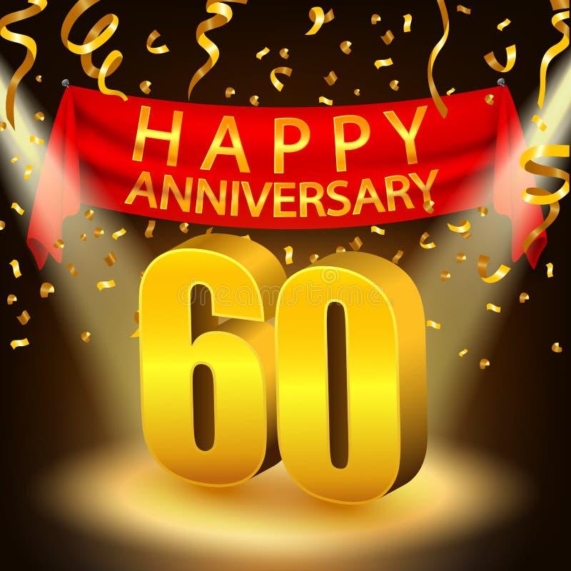 60.a celebración feliz del aniversario con confeti y el proyector de oro ilustración del vector