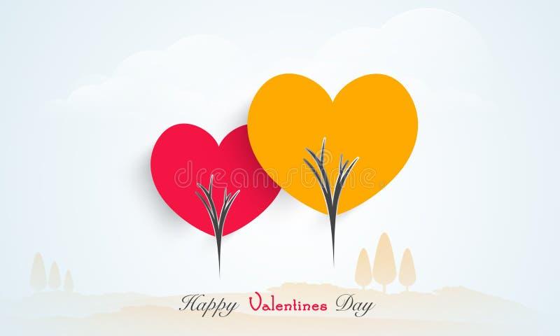 Celebración feliz del día de tarjeta del día de San Valentín con los corazones del amor stock de ilustración