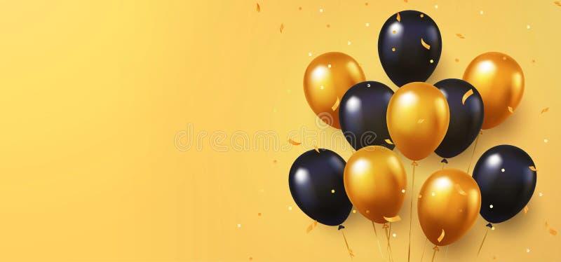 Celebración, fondo del festival con los globos del helio Saludo de la bandera o del cartel con oro y vagos que vuelan del vector  ilustración del vector