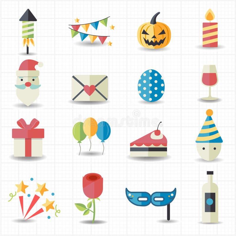 Celebración, iconos del partido stock de ilustración