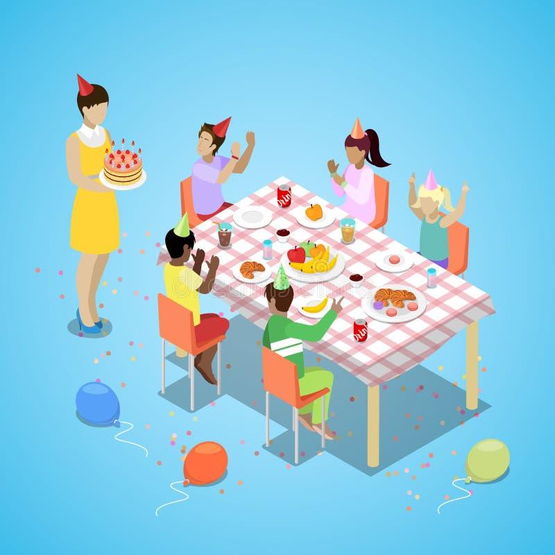 Celebración isométrica del partido del feliz cumpleaños con los niños y la torta ilustración del vector