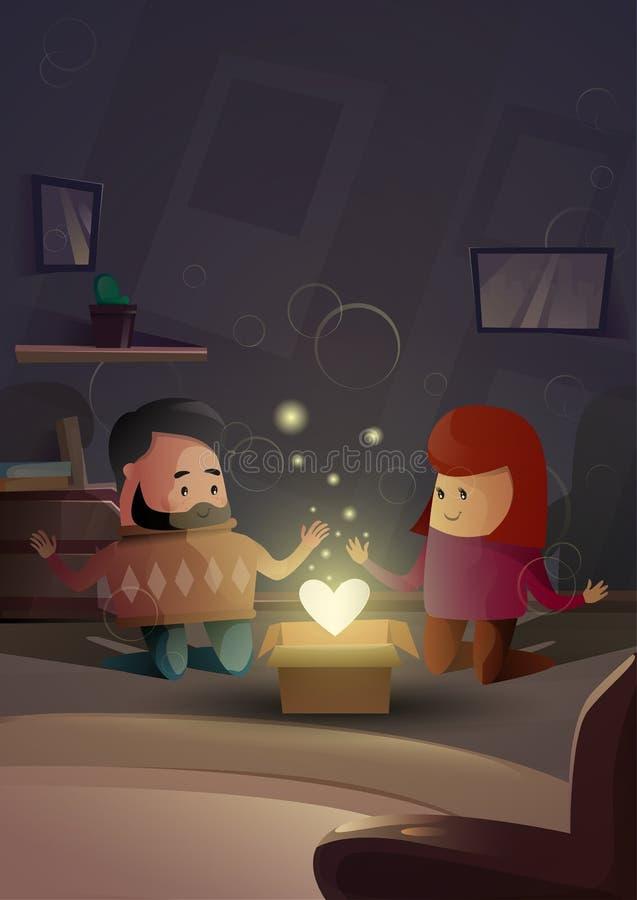 Celebración moderna de la forma del corazón del apartamento de los amantes de los pares de Valentine Day Gift Card Holiday ilustración del vector