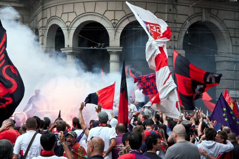 Celebración para el equipo de fútbol de Génova imágenes de archivo libres de regalías