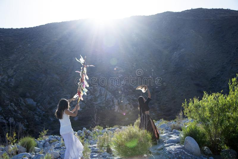 Celebración salvaje de la tierra de la mujer imagen de archivo libre de regalías