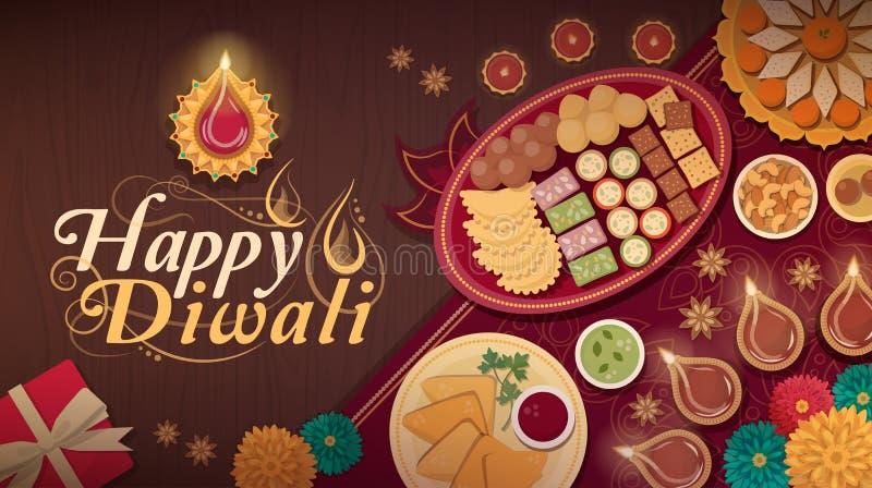 Celebración tradicional de Diwali en casa con la comida y las lámparas ilustración del vector