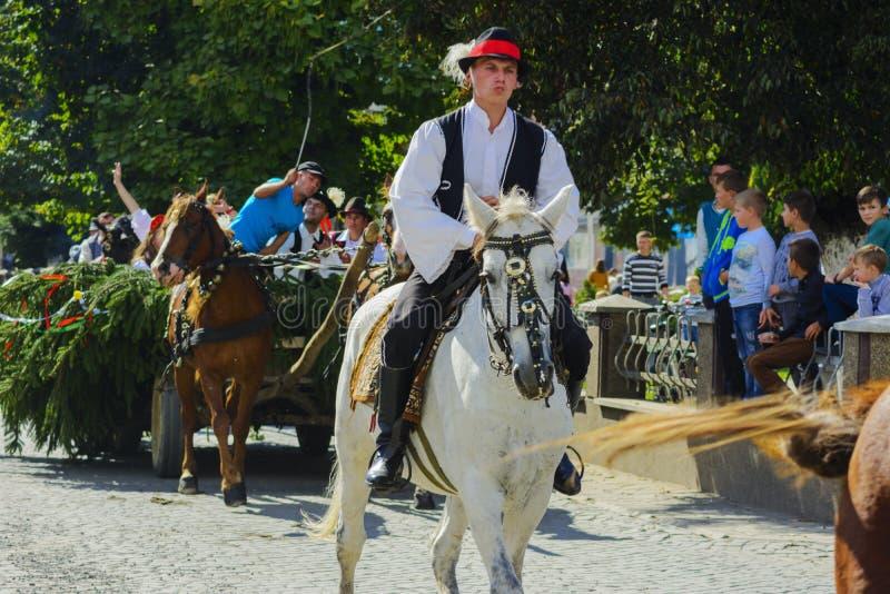 Celebración vestida del carnaval en el pueblo foto de archivo libre de regalías
