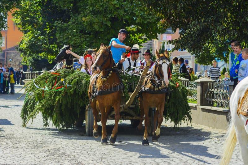 Celebración vestida del carnaval en el pueblo imagen de archivo