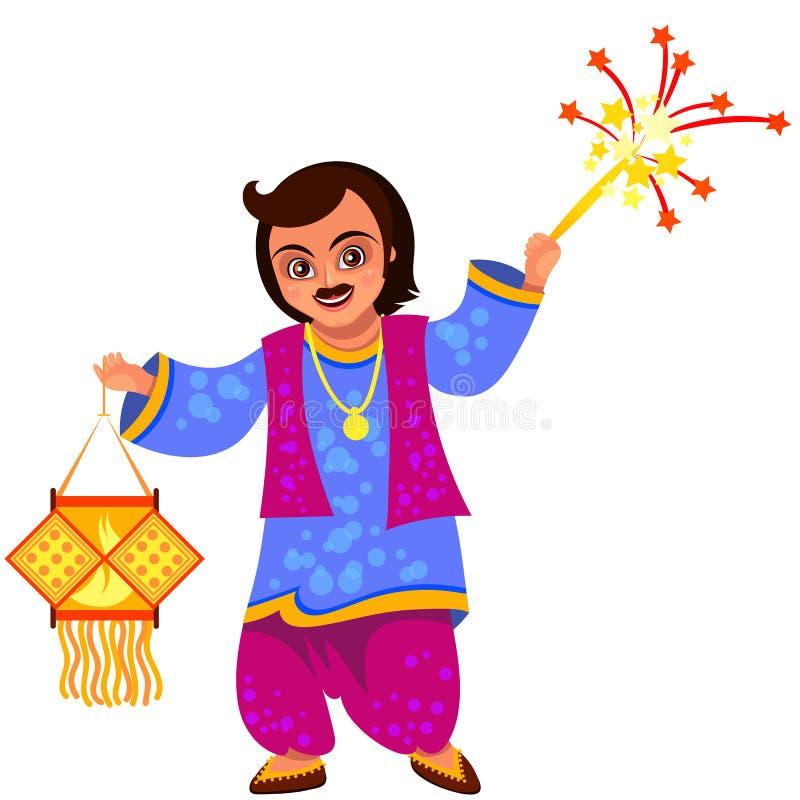 Celebración y hombre del día de fiesta de Diwali con la linterna libre illustration