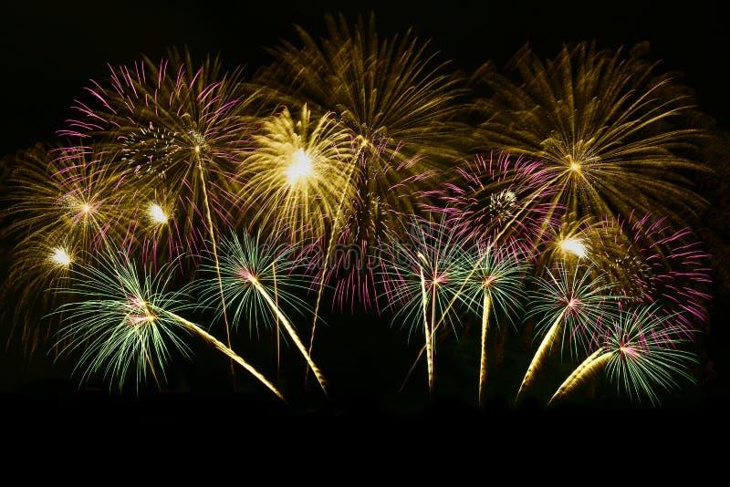Celebraci?n colorida de los fuegos artificiales y el fondo de medianoche del cielo foto de archivo