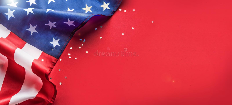 Celebraci?n de D?a de la Independencia Fondo de la bandera de los Estados Unidos de Am?rica los E.E.U.U. para el 4 de julio Copys fotos de archivo libres de regalías