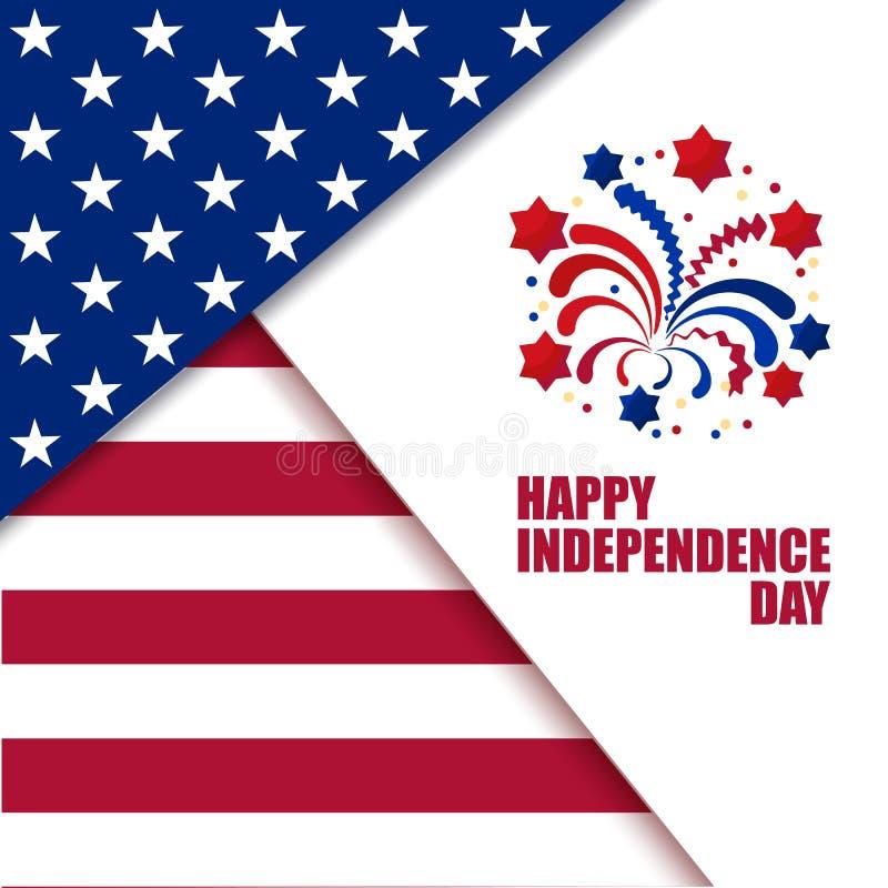 Celebraci?n del D?a de la Independencia Colores americanos de la bandera nacional con los fuegos artificiales libre illustration