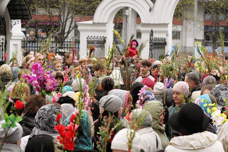 Celebraciones de Domingo de Ramos en la iglesia ortodoxa fotografía de archivo libre de regalías