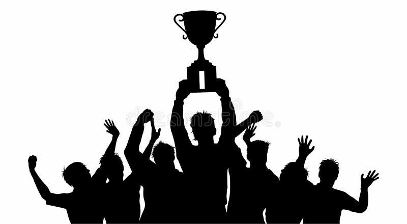 Celebraciones de los ganadores del trofeo del campeón ilustración del vector