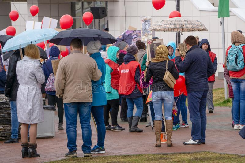 Celebraciones de Victory Day en la Parque-Rusia Berezniki 9 2018 2018 imagen de archivo