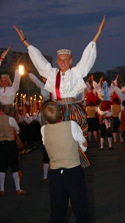 Celebraciones Del Festival De La Canción En Tallinn, Estonia Imagen de archivo editorial