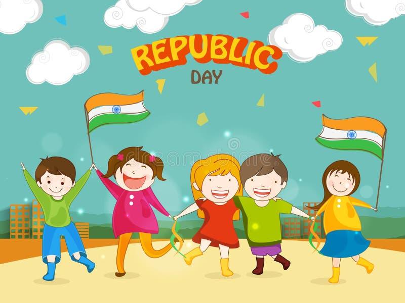 Celebraciones indias del día de la república con los niños lindos ilustración del vector