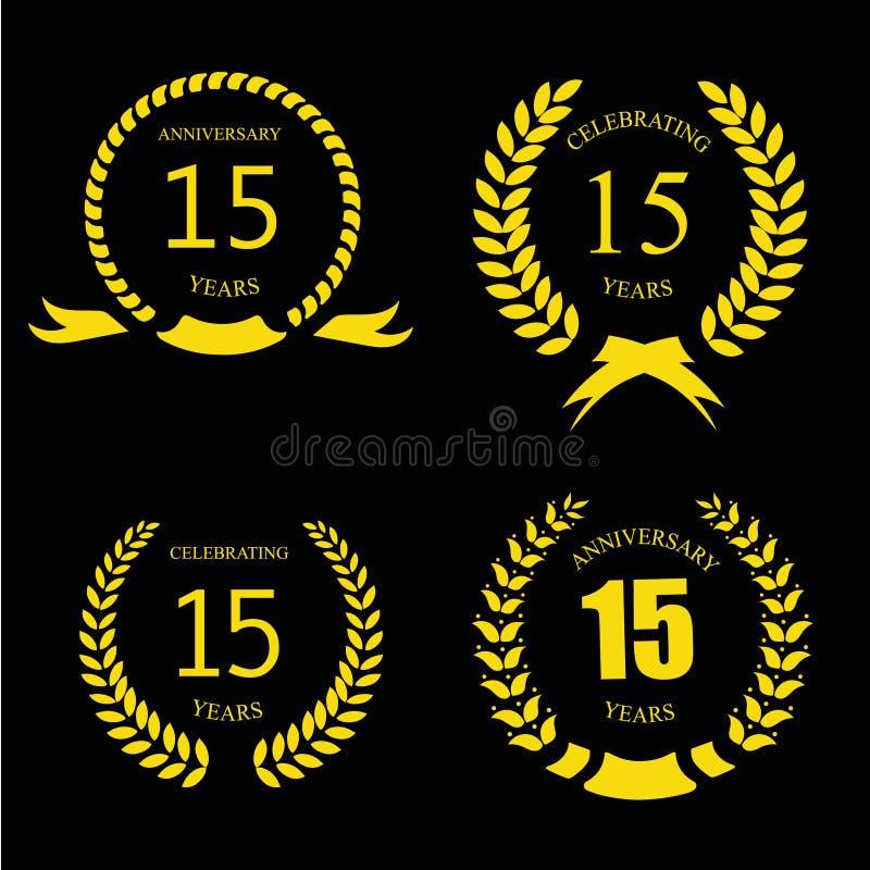Celebrando 15 anni di anniversario - alloro dorato illustrazione vettoriale