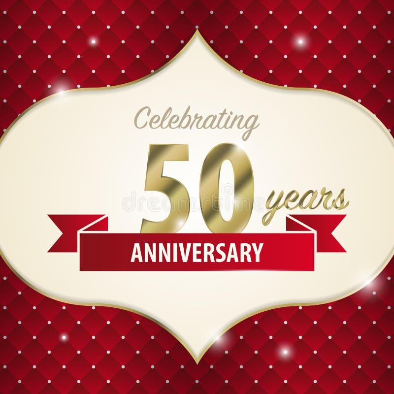 Celebrando 50 anni di anniversario Stile dorato Vettore illustrazione di stock