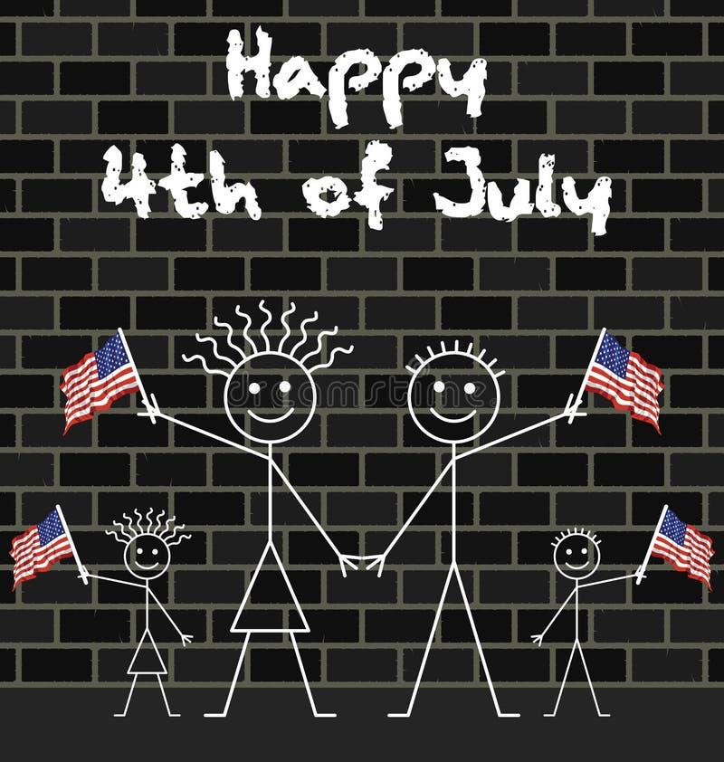 Celebrando el 4 de julio stock de ilustración