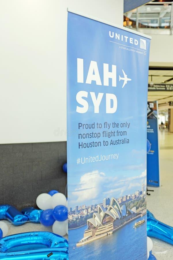 Celebrando el primer y solamente la Houston a la ruta de la línea aérea de Sydney vía United Airlines fotos de archivo